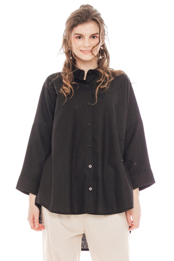 Ioki Linen Top in Black