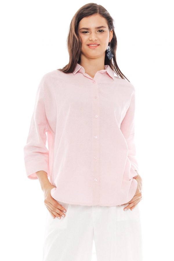 Ioki Linen Top in Soft Pink