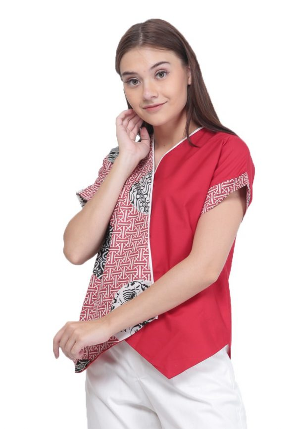 Crossed Slampadan Blouse in Red
