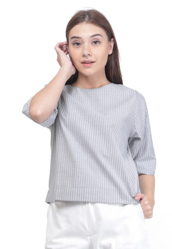 Comfy Blouse in Stripe Grey
