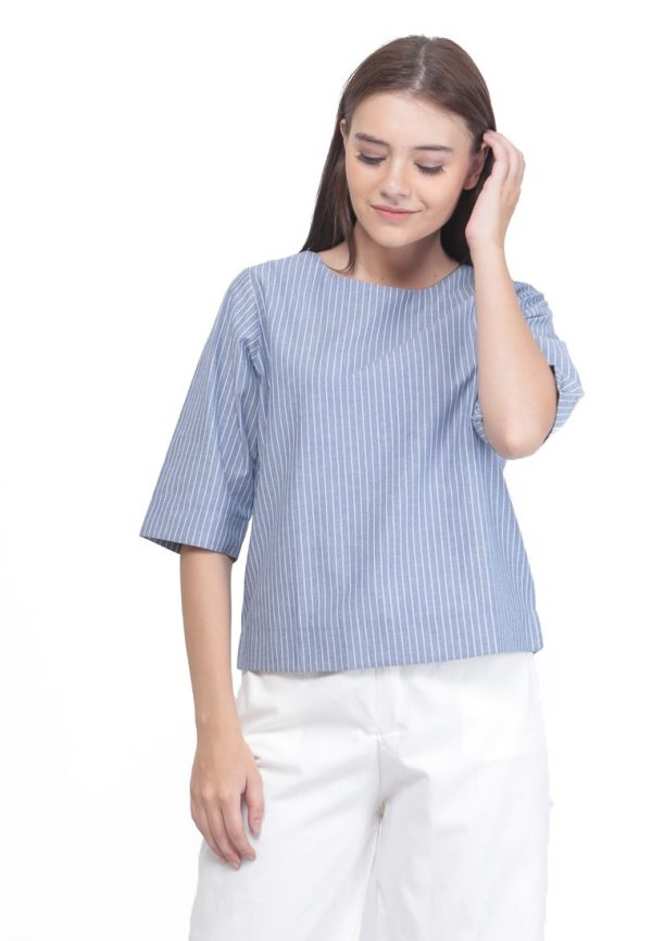 Comfy Blouse in Stripe Blue Jeans
