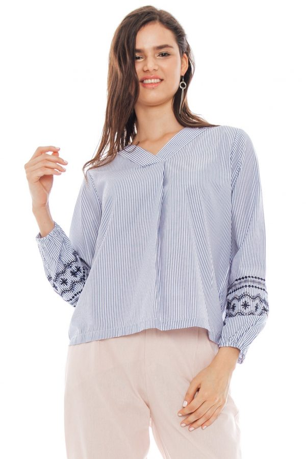 Embroidery Sleeve Blouse in Stripe Blue
