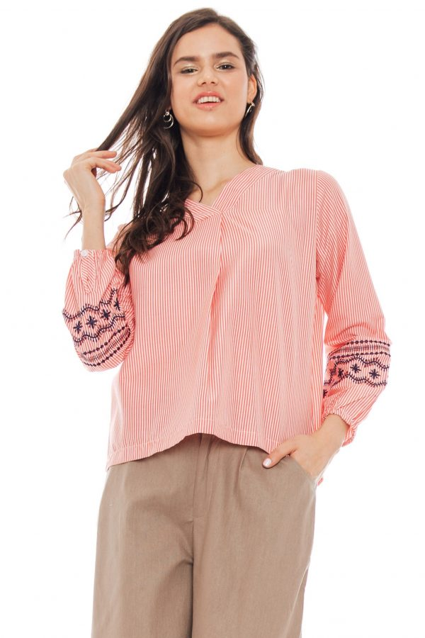 Embroidery Sleeve Blouse in Stripe Red